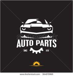 car parts icon, auto parts label, sports car silhouette logo design