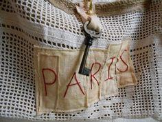 French Gypsy in Paris Burlap Tote Bag
