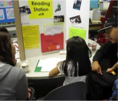 A student-led parent conference. Students lead the conferences about their academic progress. They take ownership of their learning experience, sitting at the table with parents and teachers.