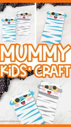Arts And Crafts For Kids Toddlers, Easy Art For Kids, Crafts For Boys, Toddler Crafts, Preschool Crafts, Cute Halloween Food, Halloween Crafts For Kids, Halloween Activities, Mummy Crafts