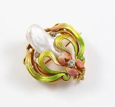 14k Gold Art Nouveau Krementz Enamel Iris Diamond Pearl Brooch Watch Pin Pendant