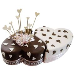 Twin Heart Choco Vanilla Cake - Two heart-shaped cakes joined together to showcase the bond you share and the love you have for each other would be the perfect