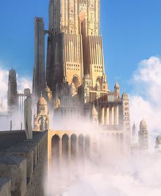 ArtStation - Castle beyond the sky, Tarmo Juhola Dream Fantasy, Fantasy City, Fantasy Castle, Fantasy Places, Fantasy Armor, Fantasy World, Environment Painting, Environment Concept, Environment Design