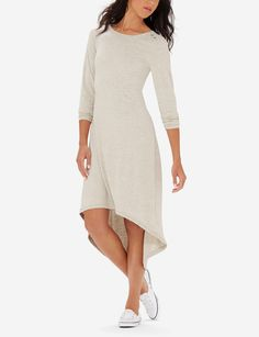 Casual Hi Low Dress - The Limited Lounge Collection introduces versatile styles that mix and layer for undeniable chic. Whether you're cozy on the couch or busy on-the-go its comfortwear that goes anywhere.