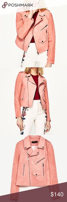 "ZARA Pink GENUINE Suede Motorcycle Jacket Structured suede jacket by Zara. Bubblegum / millennial pink. Silver hardware. MSRP: $189 + tax.  NEW (DAMAGED) CONDITION: Purchased in ""as is"" condition in June 2017 with a small stain (not visible when the jacket is zipped and only barely visible when the jacket is worn open) and some wear and discoloration on both cuffs. Original tags still attached. Fits true to size!  Smoke and pet-free home! I often adjust my pricing during Posh parties and…"