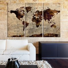 Brown and Purple Predominantly, Shadowy World Map Large Wall Art Canvas