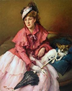 """Fernand TOUSSAINT (Brussels 1873 - Ixelles 1956)  """"LADY IN WHITE DRESS WITH DOG"""""""