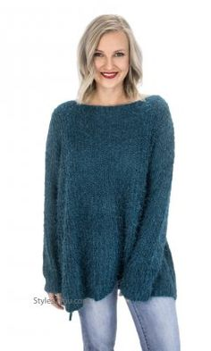 7e944ac99ab16a Champaign Ladies Oversized Loose Fitting Sweater Tunic In Teal Oversized  Sweater Outfit, Knit Sweater Dress