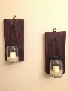 Set of  2 Rustic Mason Jar Wall Sconce, Candle Sconces with Mason Jar Candle Holders - pinned by pin4etsy.com