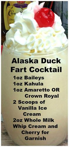 Alaska Duck Fart Cocktail Alaska Duck Fart Cocktail Okay try not to laugh at the name of this mouthwatering cocktail dont let the name fool you its probably the best drink I have EVER had. The post Alaska Duck Fart Cocktail appeared first on Getränk. Refreshing Drinks, Yummy Drinks, Healthy Drinks, Healthy Food, Healthy Recipes, Nutrition Drinks, Best Bar Drinks, Best Mixed Drinks, Liquor Drinks