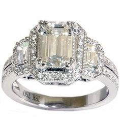 VS 2.29CT EMERALD DIAMOND VINTAGE CERTIFIED RING 18K WHITE GOLD PAVE ENGAGEMENT:  I'll take two!