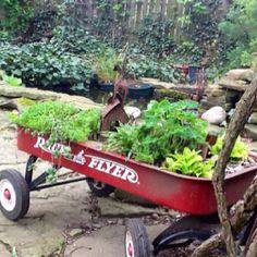 My fairy garden in a wagon