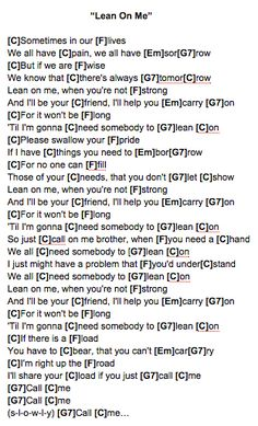 Lean On Me (Bill Withers) Ukulele Chords