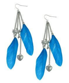 Love this Blue Feather Heart Double-Drop Earrings by Capelli New York on #zulily! #zulilyfinds