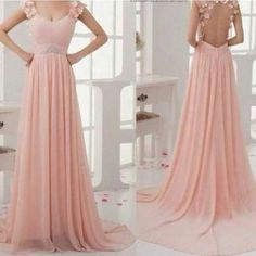 Light pink flowy prom dress