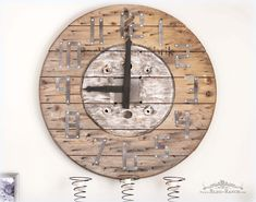 Wood Spool Clock Tin Numbers Bliss-Ranch.com