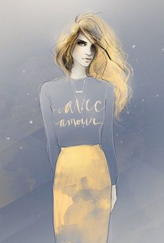 Fashion sketches by shadesofeleven - Works by shadesofeleven are mysterious and charming at the same time. Such effect is created by an unusual background that can remind us of the starlit night. Gentle feminine lines and soft colors are main the features of this work.