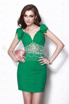 Gorgeous Sheath/Column V-Neck Knee-Length Beading Natilies Party Dress