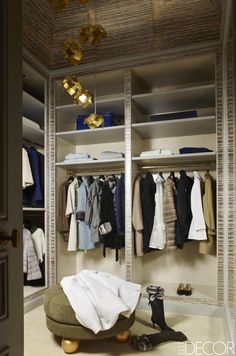 Deniot also designed the dressing room's cabinetry, which is trimmed in a wallcovering by Phillip Jeffries; the pendant lights are by Ombre Portée.   - ELLEDecor.com