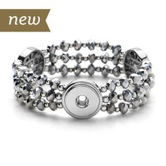 Shimmer Stretch Bracelet. One size fits most. Holds three 18mm Original Snaps. S1159--$39.99 Join my Facebook Group at  https://www.facebook.com/groups/staceysmvips