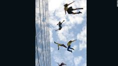 """""""Hanging from a building that's over 400 feet tall is, first of all, just scary. In addition, one has to deal with wind and pollution -- things no traditional dancer would ever have to deal with,"""" says Amelia Rudolph, BANDALOOP's founder and artistic director."""