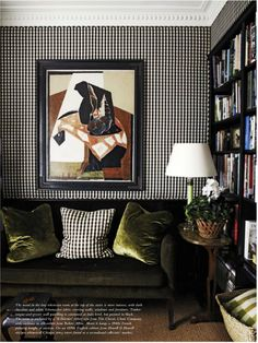 undecorate:    Daring yet refined:ginghamwalls, dark hues and modern art (via@TheZhush). #Interiors #Design     my comments:  black gingham walls ROCK!  Paired with that sofa...& I could live in this room!