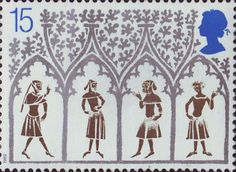 Christmas. 800th Anniversary of Ely Cathedral 15p Stamp (1989) 14th-century Peasants from stained-glass window