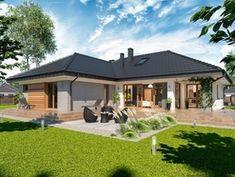 Wizualizacja ARP PADME 3 WZ CE Village House Design, Bungalow House Design, House Front Design, Small House Design, Beautiful House Plans, Modern House Plans, House Plans Mansion, Three Bedroom House Plan, Architectural House Plans