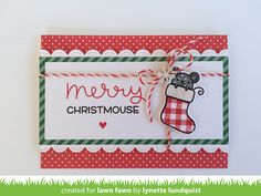 Lawn Fawn An Exclusive New Set for Simon Says Stamp STAMPtember - Merry Christmouse, Stitched Scalloped Borders, Let's Polka in the Dark paper, Peppermint Lawn Trimmings _ by Lynette for Lawn Fawn
