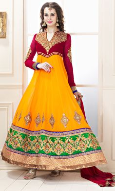 """Orange Appliqued Chiffon Anarkali Suit  Item Code: SLCH8104A  PRICE:- 5,585 /- INR  Style: Anarkali Suit sleeve style: Sleeveless, Long Sleeve (18"""" to 21"""") size: 38"""", 32"""", 36"""", 34"""", 42"""", 40"""" occasion: Party, Wedding, Reception fabric: Faux Chiffon color: Gold, Mustard Catalog No.: 1146 work: Embroidered"""