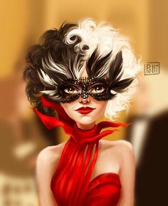 Cruella Deville, Disney Fan Art, Disney Villains, Halloween Face Makeup, Behance, Punk, Illustration, Movies, Parties Kids