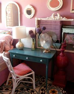 Colorful mix of modern and eclectic. Love the painted furniture.