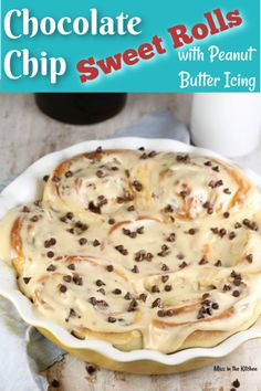 Chocolate Chip Sweet Rolls with Peanut Butter Icing are so decadent and delicious and just perfect for a weekend at home or to bake and share for the holidays! Serve these up with a steaming cup of coffee or a tall glass of milk. Best Dessert Recipes, Easy Desserts, Sweet Recipes, Holiday Recipes, Delicious Desserts, Breakfast Recipes, Snack Recipes, Aloo Recipes, Milk Recipes