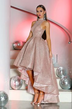 Sparkly Prom Dresses, Cheap Party Dresses, High Low Prom Dresses, Pretty Prom Dresses, Party Gowns, Dress Party, Prom Dress Rose Gold, Rose Gold Dresses Short, High Low Gown