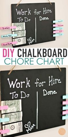Help kids earn money for chores with a super easy DIY chore chart! This cute chalkboard chore chart gives kids the chance to earn money for chores. Includes a how to video! - Earn Money at home Family Chore Charts, Chore Chart Kids, Diy For Kids, Help Kids, Diy Tableau, Chore Board, Charts For Kids, Diy Chalkboard, Tips & Tricks