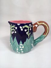Lilly of The Valley Cobalt &Green Creamer by J. Willfred-Charles Sadek CO. 20 usd