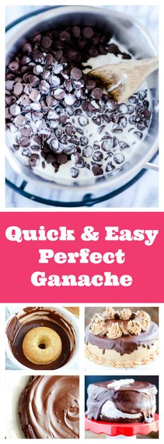 The BEST ganache and so easy to make! Use it on cakes, cupcakes, pies, donuts, and so much more! Choc Ganache, Ganache Recipe, Ganache Frosting, White Frosting, Just Desserts, Delicious Desserts, Dessert Recipes, Donut Recipes, Yummy Food