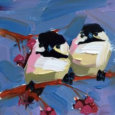 Two Chickadees no. 85 Original Bird Oil Painting by Angela Moulton 6 x 6 inch Mounted on Maple Panel pre-order by prattcreekart on Etsy