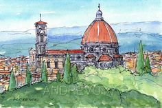 Titel: Florence Duomo This is an archival quality print from my original pen drawing and watercolor painting. Printed on high quality Epson archival paper (192 g/m²) with Epson archival, pigment ink.  Please contact me if you are interested in purchasing another size of the print. The prints are shipped signed and dated in protective sleeve with cardboard via Priority Mail.  The watermark does not appear on the print.  SAVE MONEY by ordering this print as part of a set…