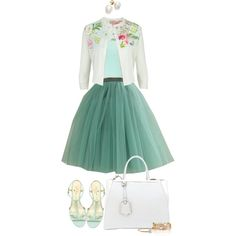 It's so fluffy!!! by angela-windsor on Polyvore featuring Ted Baker, Vero Moda, Kate Spade, Fendi, pearl earrings, tulle skirt, mint tank top, gold and white bracelet, floral cardigan and mint blue sandals