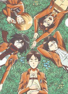 Mikasa, Armin, Hanji (Zoe), Rivialle (Levi), Eren |Shingeki No Kyojin