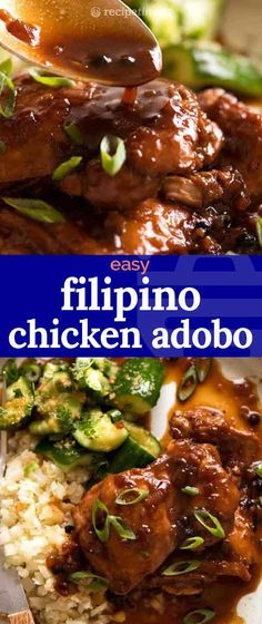 Filipino Chicken Adobo - the national dish of the Philipines! Juicy, tender chicken coated in a sticky glaze that's savoury, slightly tangy a touch sweet. Thai Beef Recipe, Filipino Adobo Recipe, Chicken Adobo Filipino, Asian Chicken, Chicken Adobo Crockpot, Asian Recipes, Crockpot Recipes, Cooking Recipes, Ethnic Recipes
