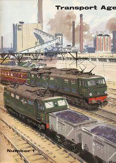"British Railways ""Transport Age"" magazine cover, showing DC electric locomotives, 1957. (Image by mikeyashworth, via Flickr.)"