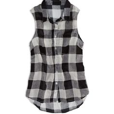 AE Factory Sleeveless Plaid Shirt ($7.49) ❤ liked on Polyvore featuring tops, shirts, blusas, tank tops, grey, tartan shirt, plaid shirts, gray plaid shirt, grey plaid shirt and sleeveless shirts