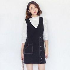 Korean fashion V-neck sleeveless woolen dress