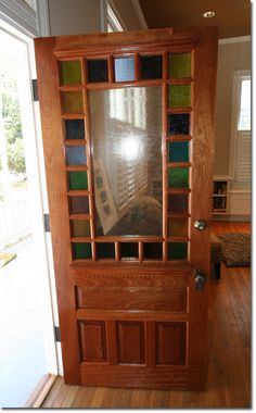 Front timber door with stained glass panels. Stained Glass Door, Glass Panel Door, Glass Front Door, Stained Glass Panels, Glass Doors, House Paint Exterior, Exterior Doors, Entry Doors, Craftsman Style Front Doors