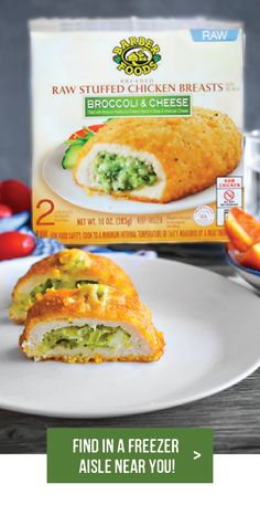 Discover new delicious recipes to complement Barber Foods stuffed chicken breasts with adding the perfect side dish, salad or sauce. Barber Foods, Cordon Bleu Recipe, Tasty, Yummy Food, Stuffed Chicken, Broccoli And Cheese, Chicken Breasts, Dinner Table, Bon Appetit