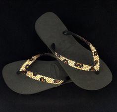 c4503336c8b3 Havaianas Flip Flops Custom Gold Leopard Cheetah Jungle Animal print w   Swarovski Crystal Bling flat or Cariris Wedge Heel Thong Beach Shoes