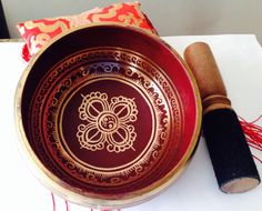 Tibetan singing Bowl Red Ccolor with sude by singingbowlshop