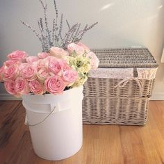 """Market flowers and #rascc basket.  #shabbychic #shabbychicliving #rachelashwell #myfav #shabbychiccouture"" Photo taken by @vintage_sparkle_chic on Instagram, pinned via the InstaPin iOS App! http://www.instapinapp.com (04/01/2016)"